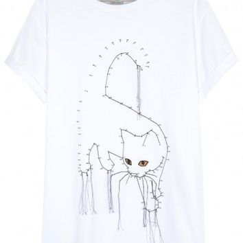 Stella McCartney White cat-print cotton T-shirt