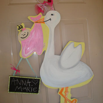 baby door hanger, baby door sign, nursery decoration, stork door hanger, baby wreath, baby door decor, Custom door hanger