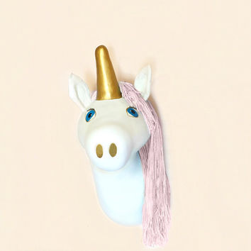 Pink and Gold Nursery Decor, Faux Taxidermy Unicorn Head, Baby Girl, Unicorn Room, Kawaii, Cute Kids Room, Girls Room Decor, Playroom Decor