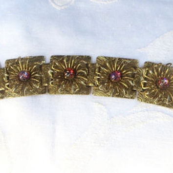 Vintage Dragons Eye Art Glass Bracelet. Fancy Antiqued Gold Book Chain, Wire Daisy Overlay, Faux Fire Opal Bracelet