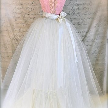 Ivory Vintage Romantic Bride full length tutu. Classic simplicity. Tulle skirt for women.