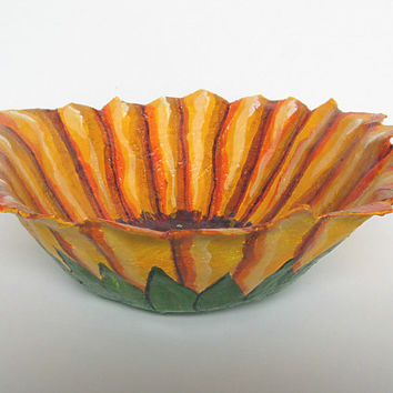 Decorative Paper Mache Bowl. Hand Painted - Fruit Bowl. Sunflower Bowl. Decorative Kitchen Bowl. Bright orange, purple. Kitschy. Handmade.
