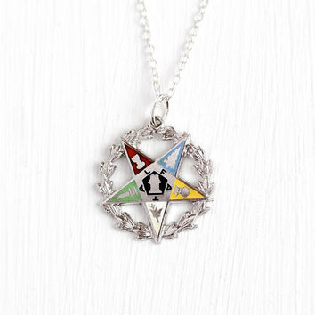 Vintage OES Pendant - Sterling Silver Order of the Eastern Star Symbolic Charm Necklace - Retro Colorful Enamel Masonic Fraternal Jewelry