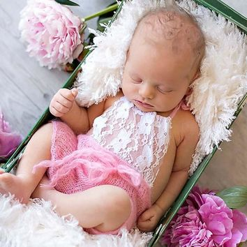 Lace Front Mohair Knit Romper Newborn Photography Prop Super Soft Newborn Lace Romper Baby Photo Props Shower Gift H276