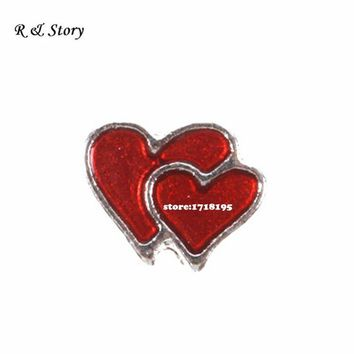 Living locket, Double Heart Floating Charm, Enamel MFC_028
