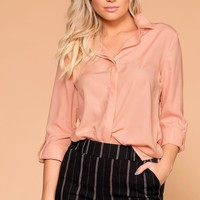 Busy Bee Blush Button Down Top