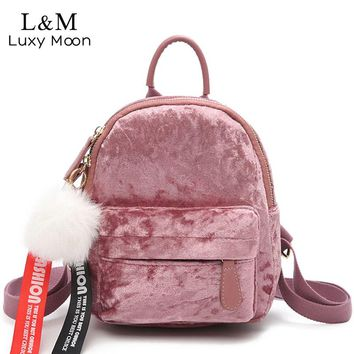 Mini Backpack Women Velour Backpack