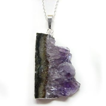 Metal Lined Sliced Amethyst Pendant Necklace