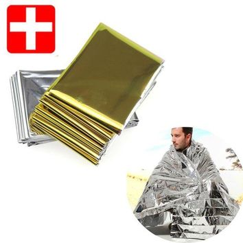 VONL8T 1pc Camping Outdoor Survival Emergency Kit Rescue Blanket Portable First Aid Curtain Emergency Camping Blanket Silver Golden
