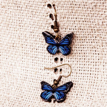 Free Shipping Worldwide, Monarch Butterfly earrings, Butterfly Jewelry, Butterfly wing earrings, Wing jewelry, Blue butterfly, Blue jewelry