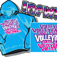"""TURQ. VB"" - Volleyball Hooded Sweatshirt by VictorySportsGraphics"
