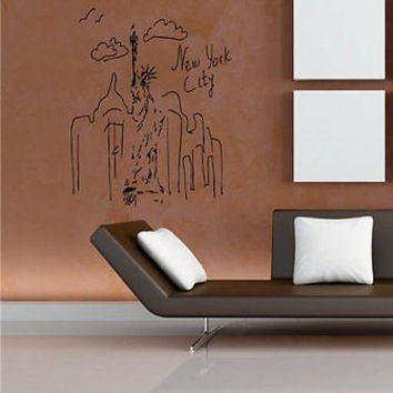 Ny Scetch New York Drawing Big Apple City Wall Art Sticker Decal C14