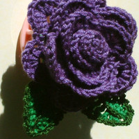 Rose  brooch/crochet rose brooch/Corsage Brooch/crochet flower brooch/purple rose brooch/handmade rose brooch