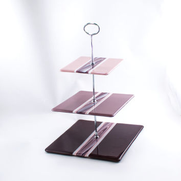Pink and Purple 3 Tier Cake Stand, Cupcake Display, Tiered Serving Tray, Fused Glass, Square Plates, Modern Design, Unique Gifts for Women