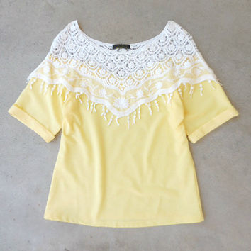 Crochet Yellow & Lace Top