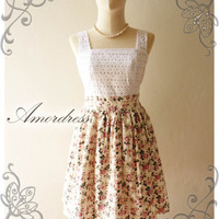 Amor Vintage Inspired Classy Lace and Floral Vintage Dress in Sweet Pink Rose -Size S-M- SALE