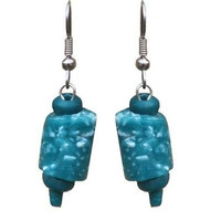 Recycled Glass Marble Earrings in Teal - Global Mamas