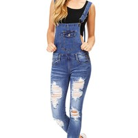 Shift Distressed Denim Overalls