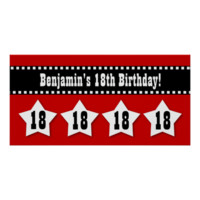 18th Birthday Banner with Stars Custom Name V18S Print