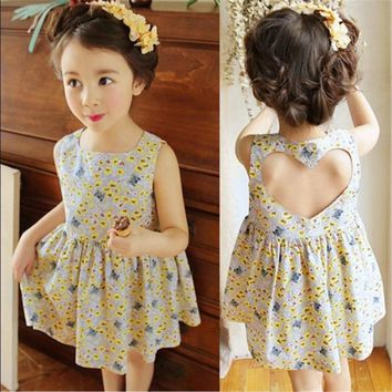 Floral Love Heart Backless Dress  For Baby Girl