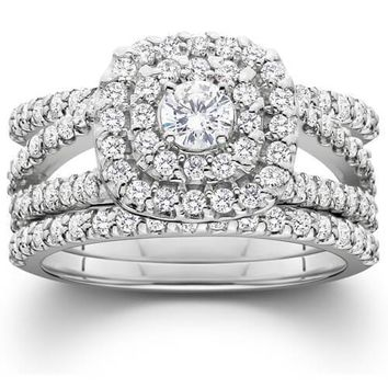 1 1/4ct Diamond Engagement Cushion Halo Wedding Ring Trio Set