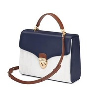 Mayfair Bag in Smooth Blue Moon & Snow White Croc Mix