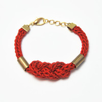 Red bracelet, knot bracelet, red nautical bracelet with tubes