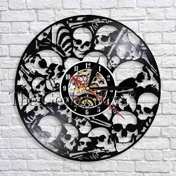 1Piece Skull Vinyl Wall Clock Dead Skeletals Heads Hanging Clock With Color Changing Unique Decorative
