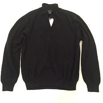 Alex Stevens Men's Solid Black 1/4-Zip 100% Cotton Sweater Size XL