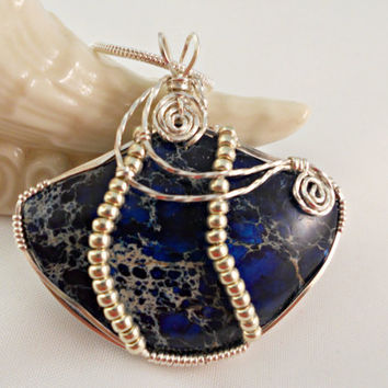 Wire Wrap Jewelry, Statement Necklace, Blue Sea Sediment Jasper Pendant