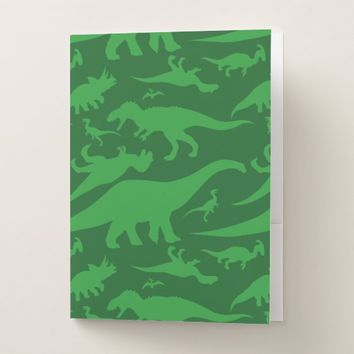 Green Dinosaur Pattern Pocket Folder