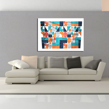 modern home decor, Mid Century Wall art canvas print, colorful wall decor, Geometric Wall art, office wall decor canvas No.716