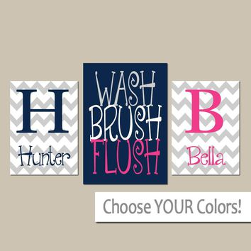 Brother Sister BATHROOM Wall Art, Canvas or Prints, Child Kid Bathroom Decor, Shared Boy Girl Bathroom Decor, Wash Brush Flush, Set of 3