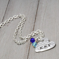 Kappa Kappa Gamma Sorority Necklace, Heart Necklace, sorority Letters, Kappa Kappa Gamma Jewelry Handstamped Necklace Personal Gift Idea