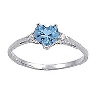 Adonia: Heart-cut Simulated Aquamarine and IOF CZ Promise Friendship Ring 925 Silver, 3144 sz 5.5