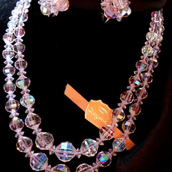 Laguna Glass Crystal Necklace and Earring Set