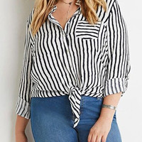 Black And White Striped Tie Hem Plus Size Shirt