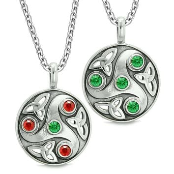 Goddess Celtic Triquetra Amulets Love Couples or Best Friends Set Royal Red Green Pendant Necklaces