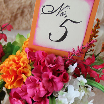 Handmade Table Numbers, Pink and Orange, Wedding Decor, Special Event, Reception Decor, With Stake, Double sided