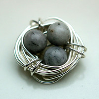 Birds Nest Wirewrapped Light Gray Agate Pendant Charm Ring Top Connector