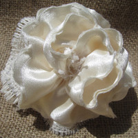 Ivory burlap flower - ivory satin - hair clip - sash flower - wedding flower - bridesmaids hair flower