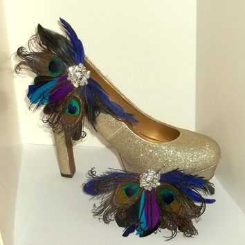 Bridal Shoe Clips - Bright Peacock Feathers, Shoe Clips, Feathered Shoe Clips, Wedding Shoe Clips