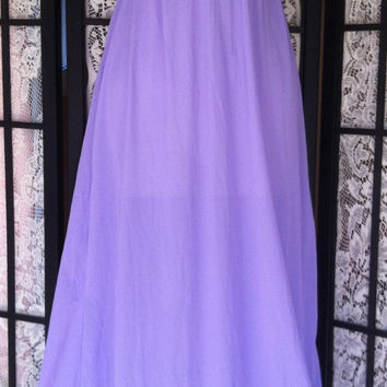 Vintage Purple Flowing sz L Long Sleeveless Soft Nylon Maxi Nightgown Large