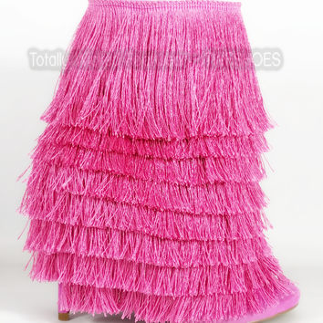 """Nelly Mambo Pink Fringe Open Toe Ankle Boot Booties - 4.75"""" Heels"""