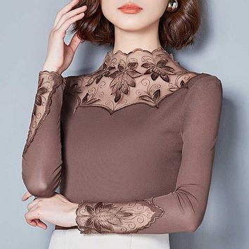 Hollow Out Women Spring Autumn Style Lace Blouses Shirts Casual Long Sleeve Patchwork Spliced Turtleneck Blusas Tops DF1491