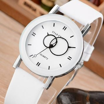 Relojes Mujer New Fashion Creative Clock Simple White Leather Watches Women Dress Casual Quartz Wristwatch