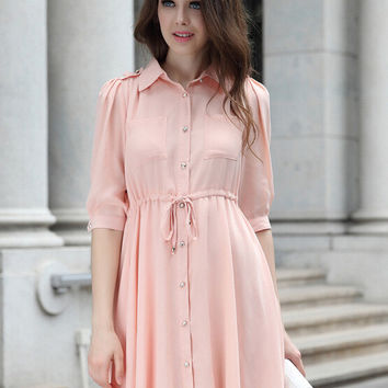 Cuff Sleeve Pointed Flat Collar Chiffon Mini Dress