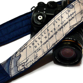 World Map Camera Strap. Vintage Camera Strap. SLR, DSLR Camera Strap. Gift For Photographer.