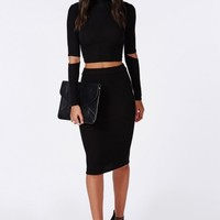 Missguided - Ribbed Bodycon Midi Skirt Black