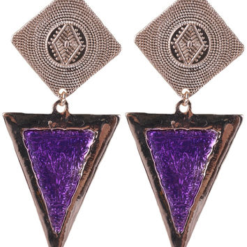 Gold Plated Square Purple Oil Drip Triangle Stud Earring ESE0000416